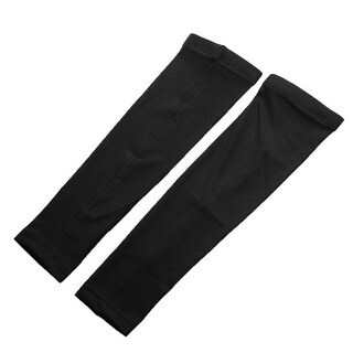 Sports Basketball Golf Cycling Sun Protection Arm Sleeves Black Size M Pair