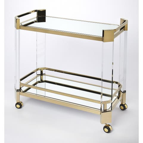 Butler Charlevoix Acrylic & Gold Serving Cart