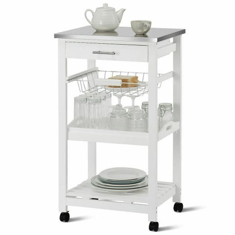 Costway Rolling Kitchen Trolley Cart Steel Top Removable Tray