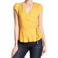 Love Fire Yellow Faux Wrap Tie Waist Women Large L Knit Top Blouse