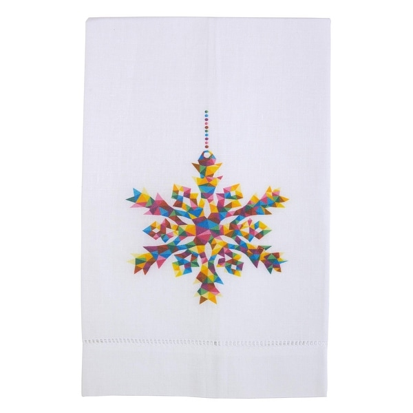 Season of Joy Printed Linen Tea Towel, Ornament Snow Flake