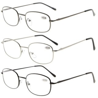 Eyekepper 3 Pair Mix Metal Frame Spring Hinged Arms Reading Glasses