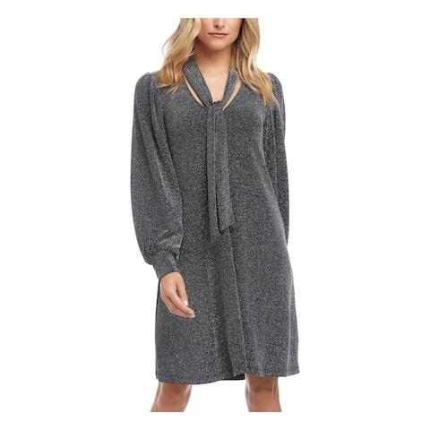 KAREN KANE Silver Long Sleeve Short Dress S