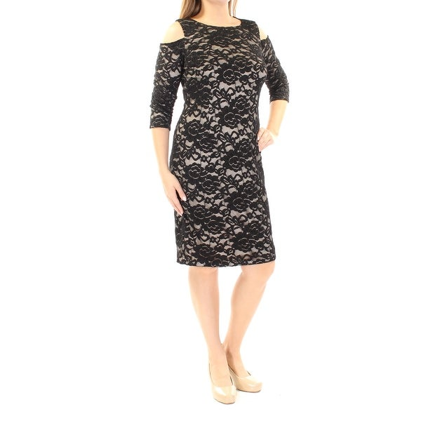 0620c5feae5b Shop JESSICA HOWARD Womens Black Lace Cold Shoulder 3/4 Sleeve Jewel Neck  Knee Length Sheath Dress Size: 10 - On Sale - Free Shipping On Orders Over  $45 ...