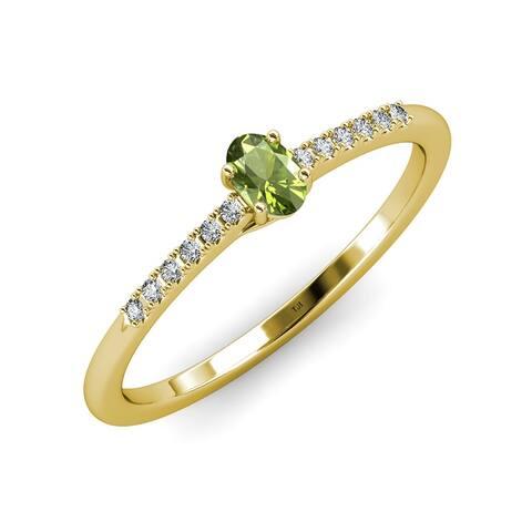 TriJewels Oval Cut Peridot Diamond 5/8 ctw Engagement Ring 14K Gold
