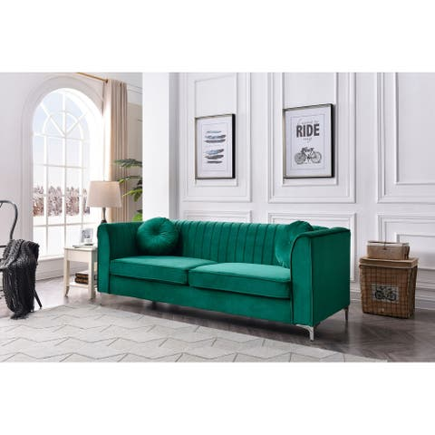 Delray Velvet Tufted Sofa