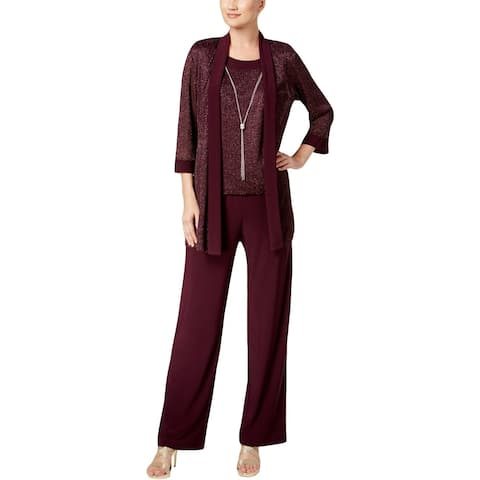 R&M Richards Womens Pant Suit Metallic 2 PC - 10