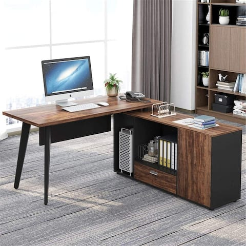 L Shaped Desk Executive Office Desk with File Cabinet - Black/brown