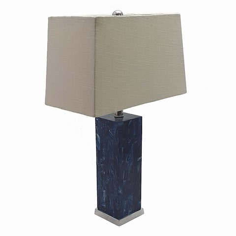 """18x8x22"""" Square Blue Resin Inlay Table Lamp With Shade Indigo Blue"""