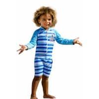 Sun Emporium Baby Boys Navy Blue Stripe Print Long Sleeve Sun Suit