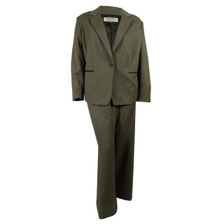 Tahari Women's Faux Leather Trim Pant Suit - 24W