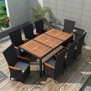 vidaXL Outdoor Dining Set 17 Piece Poly Rattan Wicker Black Garden Table Chair