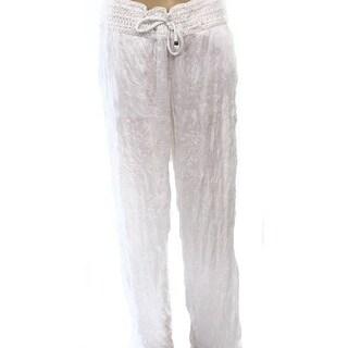 INC NEW White Pull-On Wide-Leg Wrinkle Women's Large L Drawstring Pants