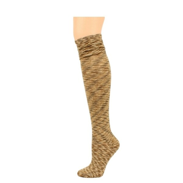 Blazin Roxx Socks Womens Knee High Stack Ruffle Brown Tan