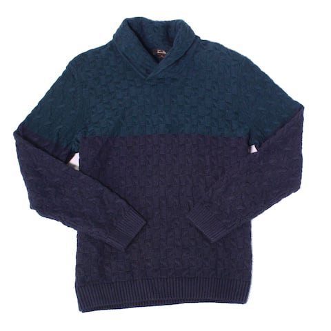 Tasso Elba Mens Sweater Blue Size Large L Cable Knit Shawl Collar Ombre