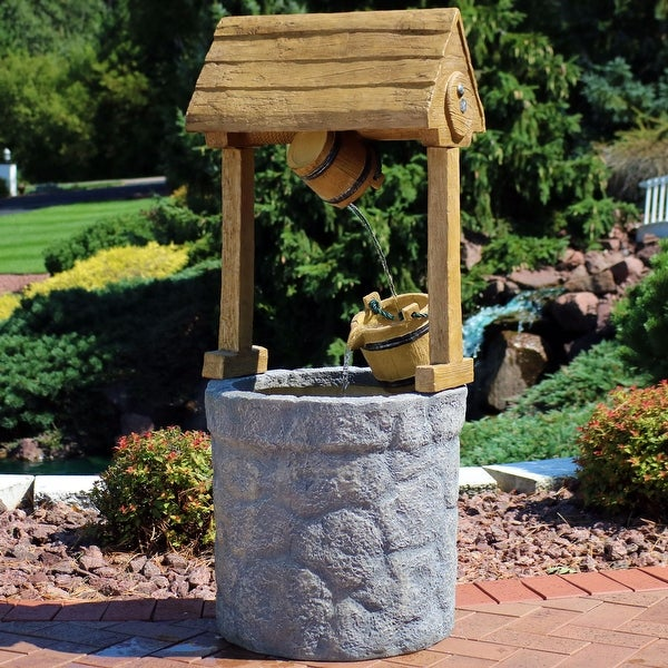 Sunnydaze Traditional American Outdoor Wishing Well Water Fountain - 49-Inch
