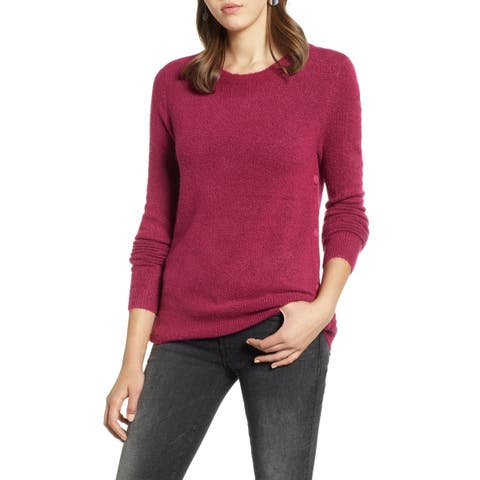 Halogen Womens Sweater Purple Size Small S Crewneck Textured Rib-Trim