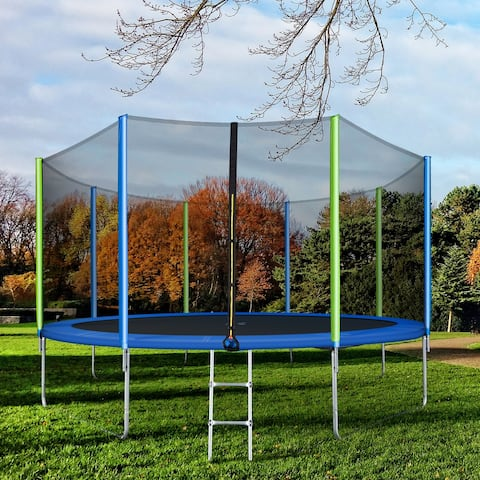 Nestfair 12FT Trampoline with Safety Enclosure Net, Ladder and 8 Wind Stakes