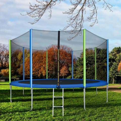 Nestfair Round Outdoor Recreational Trampoline with Safety Enclosure Net and 8 Wind Stakes
