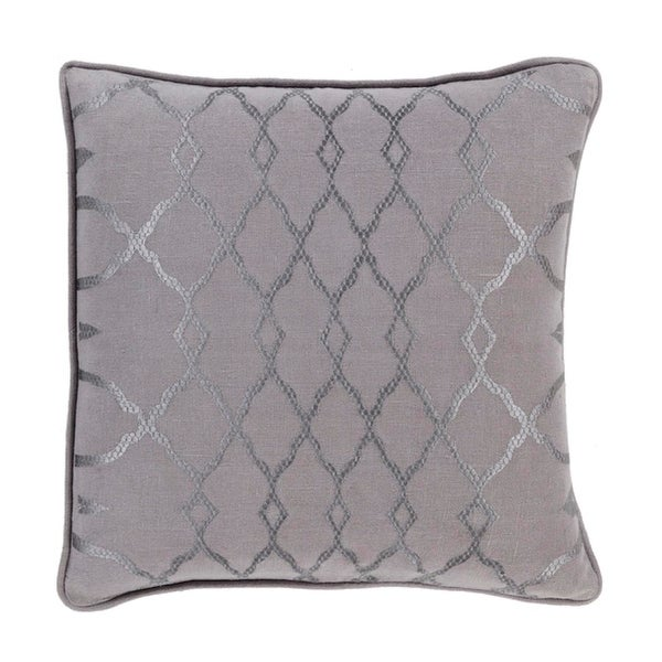 "22"" Diamond Elegance Charcoal and Dove Gray Decorative Throw Pillow – Down Filled"