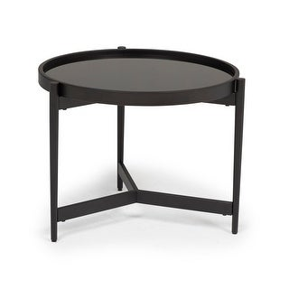 """Offex Home Estrade Modern 22"""" Round Side Table in Black/Firestone Glass"""