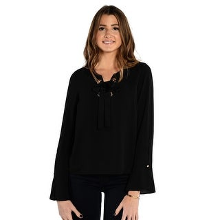 Vince Camuto Long Sleeve Lace Up Blouse With Flutter Sleeves In Black