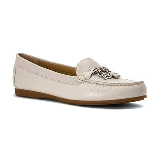 MICHAEL Michael Kors Womens Suki Moc Leather Closed Toe Loafers - optic  white tumbled leather