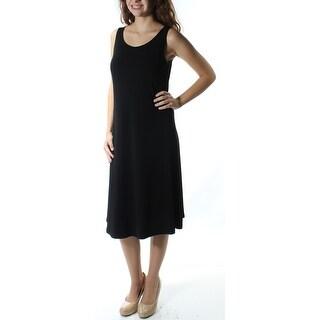 ALFANI $80 Womens New 1444 Black Sleeveless Jewel Neck Shift Dress 2 B+B
