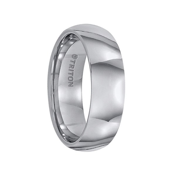 FARRELL Domed Comfort Fit Tungsten Carbide Wedding Band with Polished Finish by Triton Rings - 7 mm