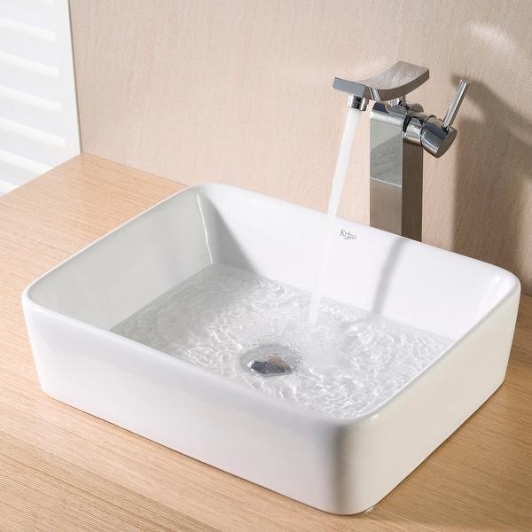 Kraus Elavo 19 inch Rectangle Porcelain Ceramic Vessel Bathroom Sink. Opens flyout.