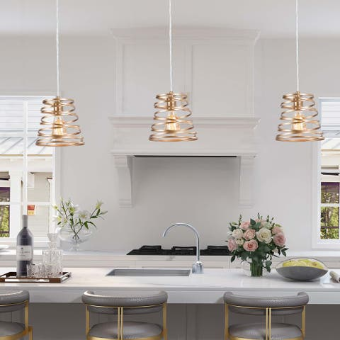 """Modern Gold Screw Wire Kitchen Island Pendant Lights for Dining Room - D7.87""""*H8.66"""""""