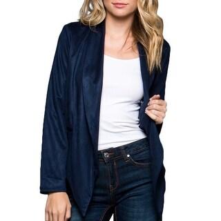 NE PEOPLE Womens Open Front Draped Faux Suede Wrap Jacket [NEWJ915]