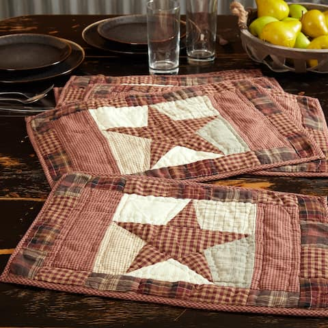Abilene Star Quilted Placemat Set of 6 12x18 - Placemat 12x18