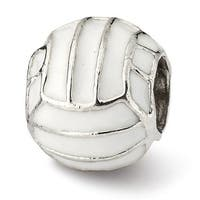 Sterling Silver Reflections Enameled Volleyball Bead (4mm Diameter Hole)