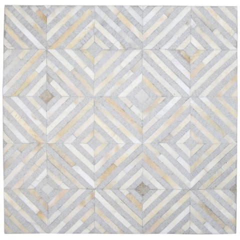 """One of a Kind Hand-Woven Modern & Contemporary 6' Round/Square Diamond Leather Grey Rug - 6'0""""x6'0"""""""