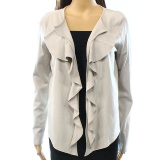 INC NEW White Grey Women's Size XL Ruffle Draped Cardigan Sweater