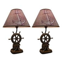 Set of 2 Nautical Ship`s Wheel Table Lamps 19 Inch - Multicolored