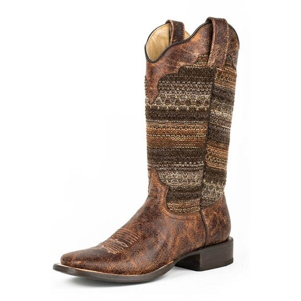 Roper Western Boots Womens Vintage Square Brown