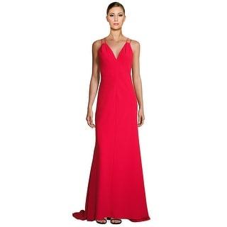 Carmen Marc Valvo Double Strap V-Neck Sleeveless Evening Gown Dress - 4