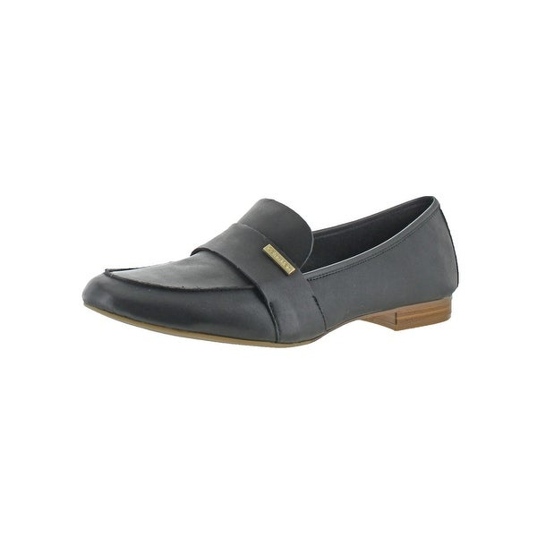 Calvin Klein Womens Cemmie Smoking Loafers Leather Block Heel