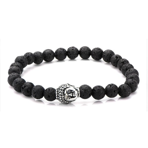 Shop Inox Mens 8mm Black Lava Beads Bracelet With Stainless Steel