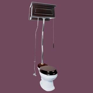 Dark Oak High Tank Z-Pipe Toilet Elongated White Bowl