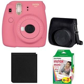 Fujifilm Instax Mini 9 (Flamingo Pink) w/ Groovy Case & Film Bundle