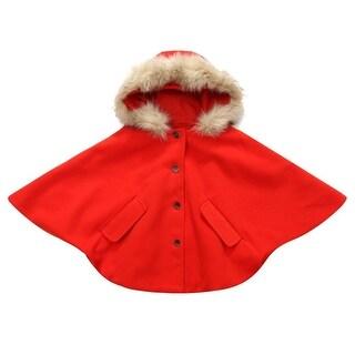Richie House Little Girls Orange Button Placket White Faux Fashion Cape 1-5