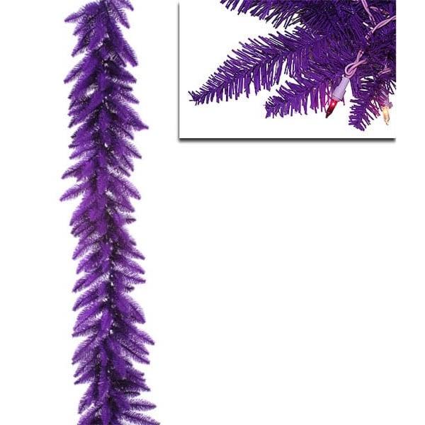 "9' x 14"" Pre-Lit Purple Ashley Spruce Christmas Garland - Clear & Purple Lights"