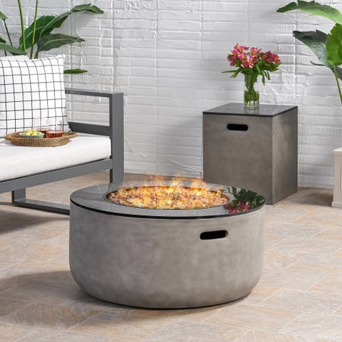 "Adio Outdoor Modern 31-Inch Circular Fire Pit with Tank Holder by Christopher Knight Home - 31.10"" W x 31.00"" L x 15.00"" H"