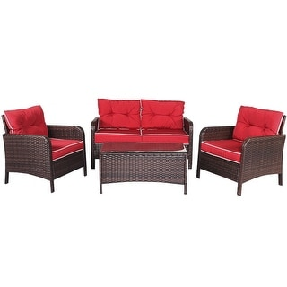 4 pcs Outdoor Rattan Wicker Loveseat Furniture Set w/ Cushions-Red