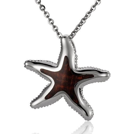 "Starfish Necklace Sterling Silver Pendant 18"" Chain"