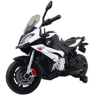 Costway Xmas Gift Kids Ride On Motorcycle Licensed BMW 12V Battery Powered Toy w/Training Wheel - White