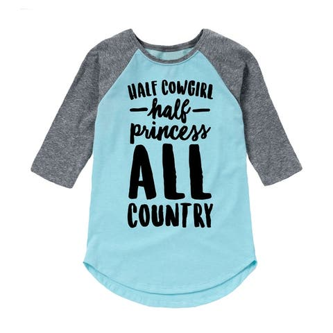Half Cowgirl Half Princess All Country - Toddler Girl Shirt Tail Raglan - Light Blue/Ath Hea